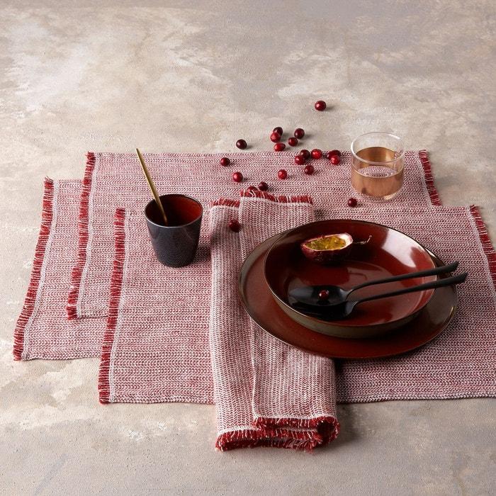 set de table lin lav chevron ebinta lot de 2 rouge am pm la redoute. Black Bedroom Furniture Sets. Home Design Ideas