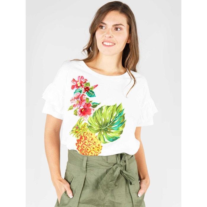 y RENE con flores redondo estampado de corta cuello manga DERHY Camiseta wBqcHxXB7p