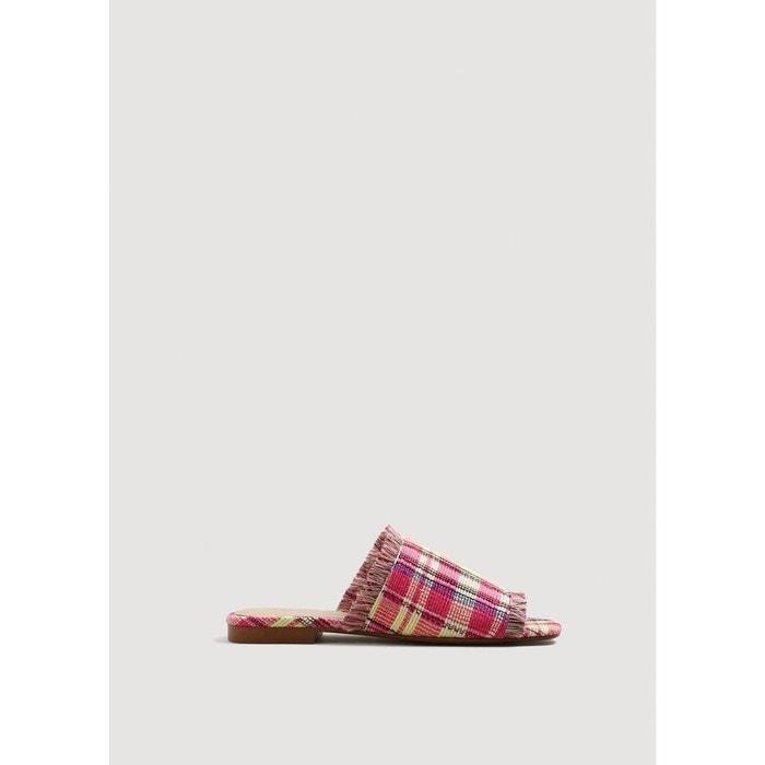 Sandales plates à carreaux  rouge Mango  La Redoute