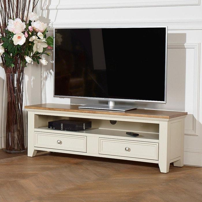 Meuble tv en bois 2 tiroirs et 1 niche archer blanc Meuble robin des bois