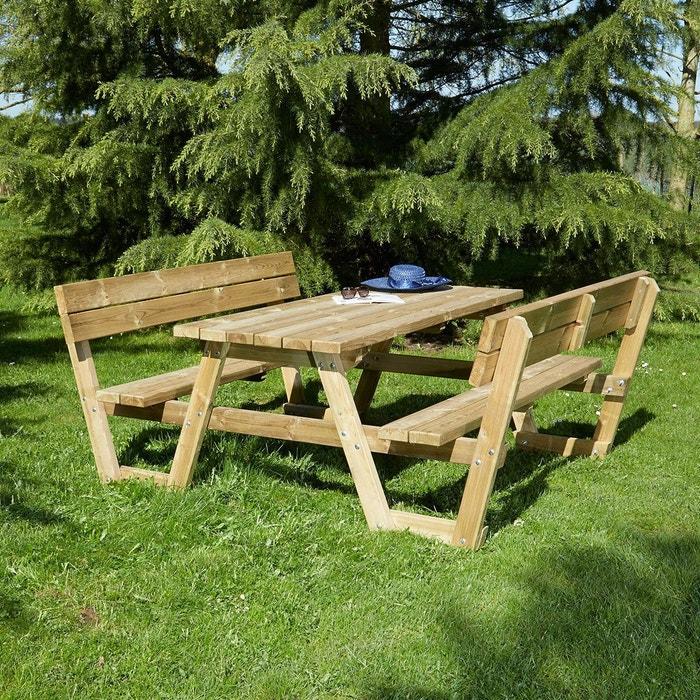 Nouvel Table de pique-nique en bois traité 4/6 pers avec dossier CG-97