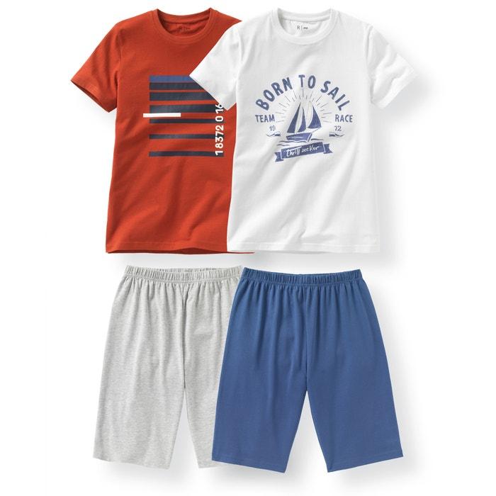 Imagen de Pijama con short de algodón 10-16 años (lote de 2) La Redoute Collections