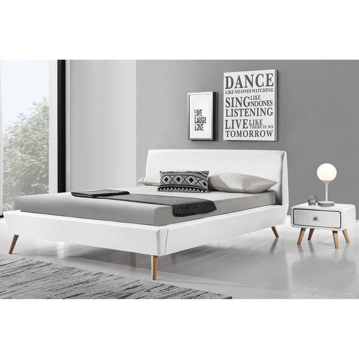 lit scandinave norway 140x190cm cadre de lit design blanc avec pieds en bois concept usine - Lit Scandinave