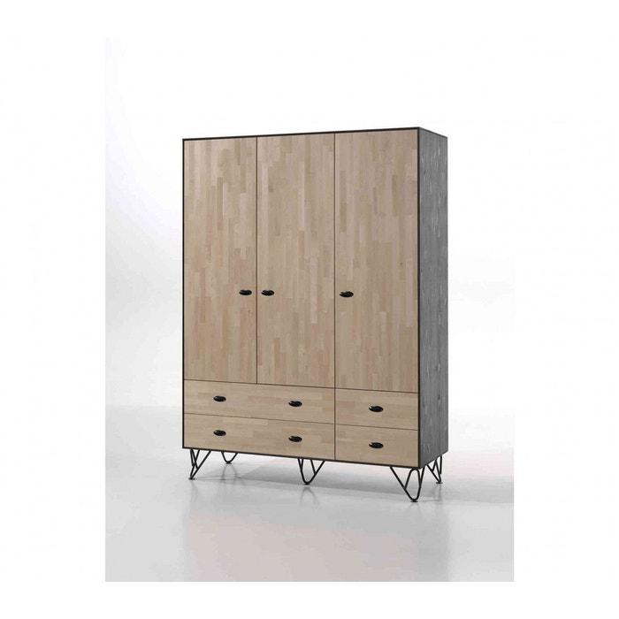 Armoire 3 portes bois massif pin, bouleau