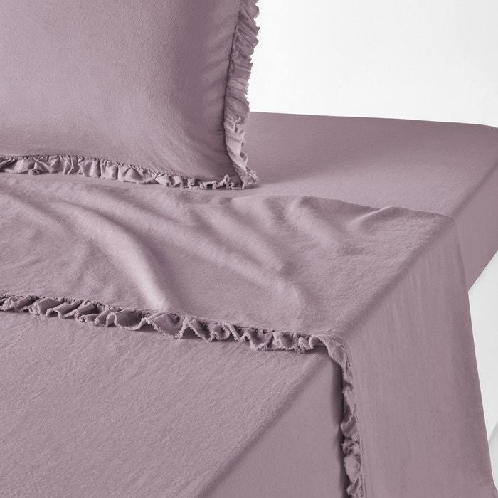 NILLOW Plain Ruffled Linen/Cotton Flat Sheet  LA REDOUTE INTERIEURS image 0