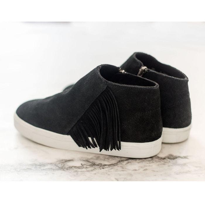 Baskets zippées à franges en cuir gwen bootie noir Minnetonka