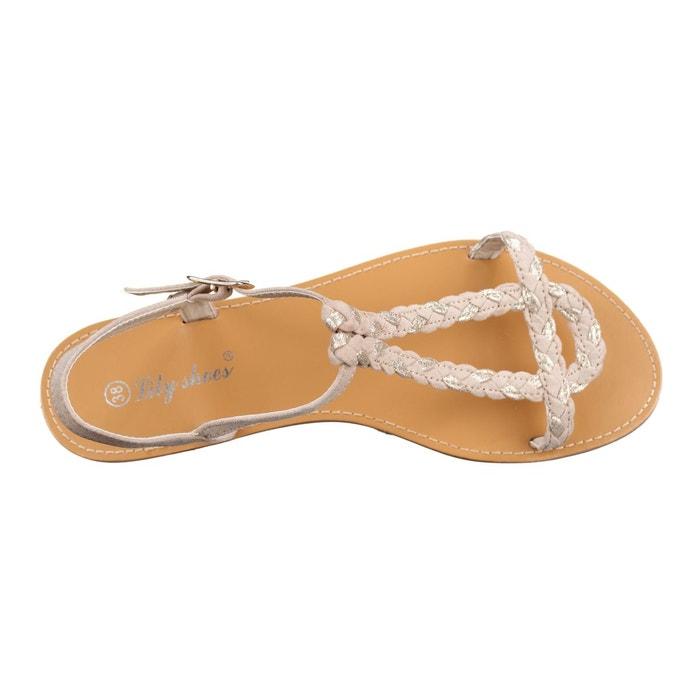 Sandales à tresses beige Leader Mode