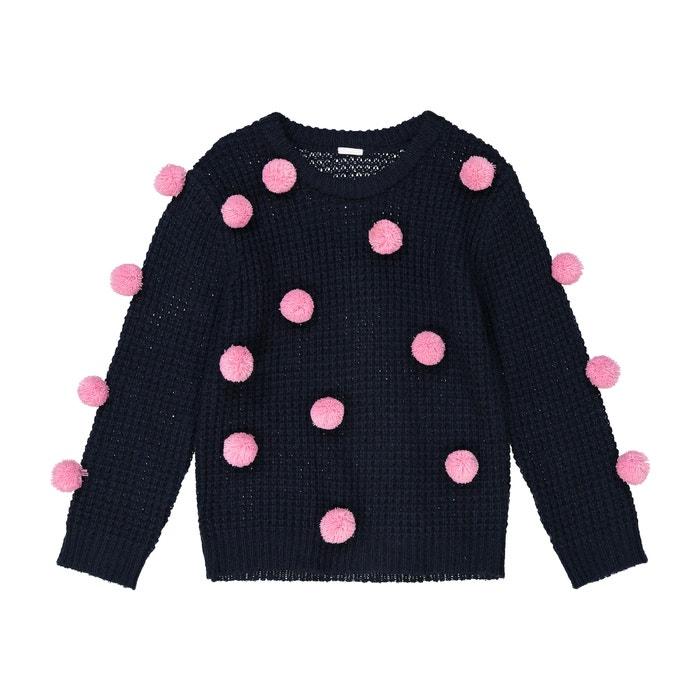 6cc19d7106 Pull maglia fine con pompons 3 - 12 anni blu marino La Redoute Collections  | La Redoute