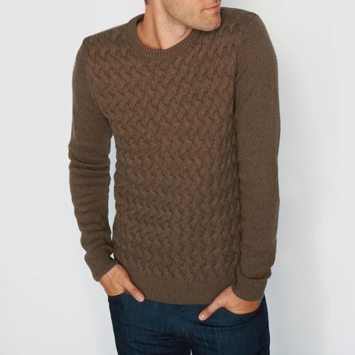"""фото Пуловер с круглым вырезом и узором """"косы"""" La Redoute Collections"""
