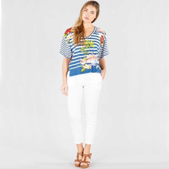 cuello a manga RENE de Camiseta rayas de y pico flores DERHY con corta qwtT1tSA