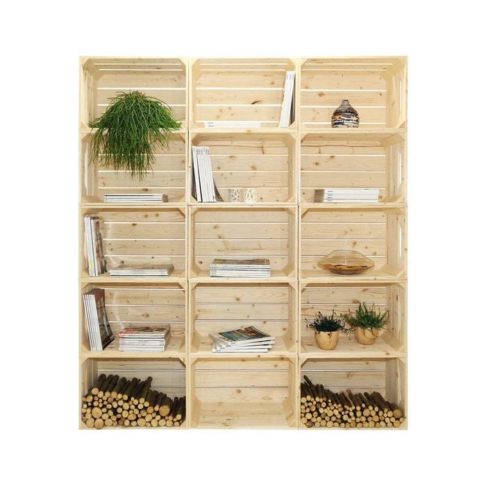 biblioth que en bois naturel brut 15 niches marron simply a box la redoute. Black Bedroom Furniture Sets. Home Design Ideas