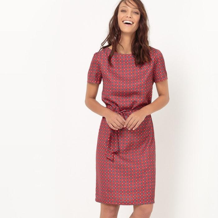 afbeelding Bedrukte jurk met strikceintuur La Redoute Collections