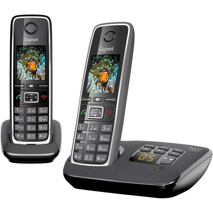T l phone r pondeur sans fil duo gigaset c530a noir couleur unique gigaset la redoute - La redoute telephone gratuit ...