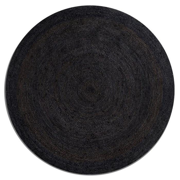tapis rond en jute hempy 160 cm noir am pm la redoute. Black Bedroom Furniture Sets. Home Design Ideas