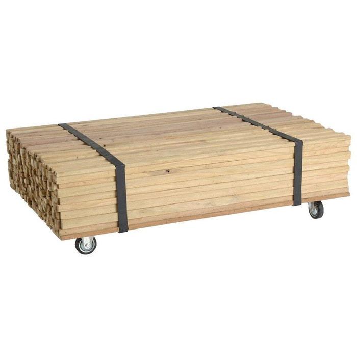 Table Basse A Roulettes Bois Recycle Naturel Effet Fagot 110x70cm Style Industriel