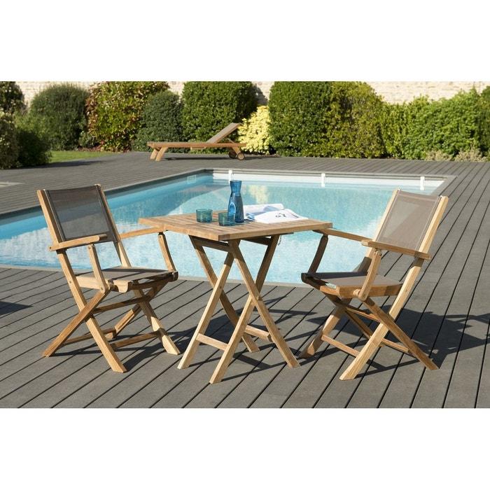 Salon de jardin bois de teck table carrée pliante 70x70cm + 2 fauteuils  chaises pliants SUMMER