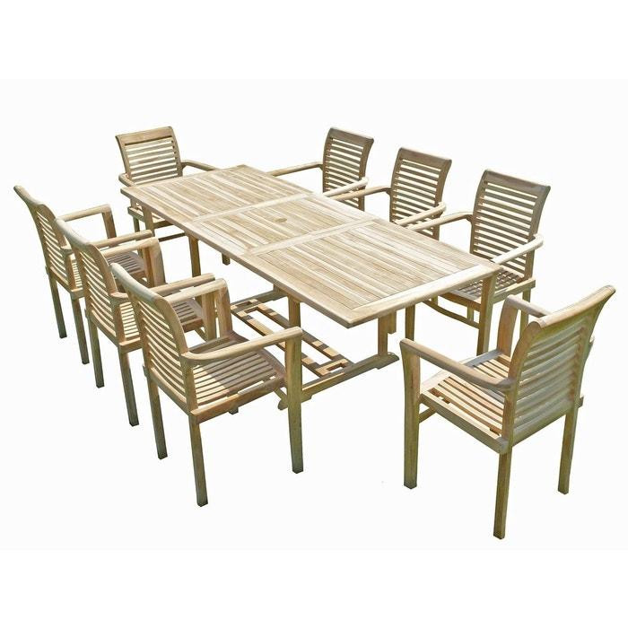 Ensemble salon de jardin en teck amara 8 fauteuils empilables ...
