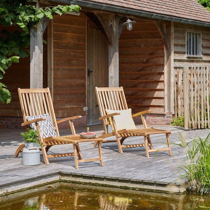 lot de 2 chaises longues steamers en bois d 39 acacia bois. Black Bedroom Furniture Sets. Home Design Ideas