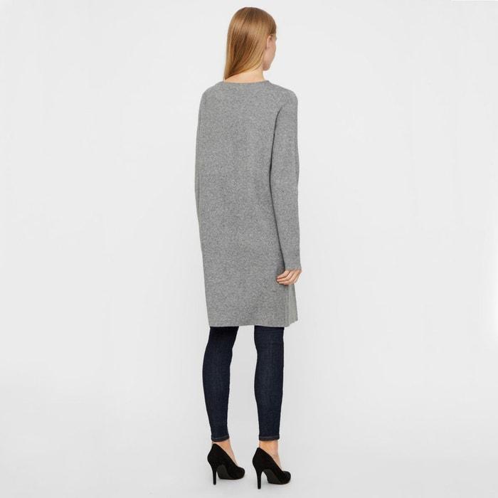 93d5fae2408e Gilet long col rond avec poches carrées gris moyen Vero Moda