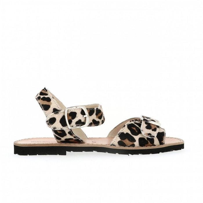 Sandales en cuir léopard multicolore Minorquines remise 8uwDJNU