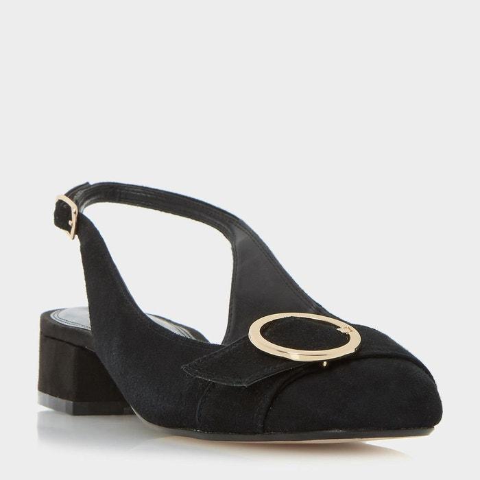 Escarpins à bride arrière et boucle ronde - como noir daim Dune London
