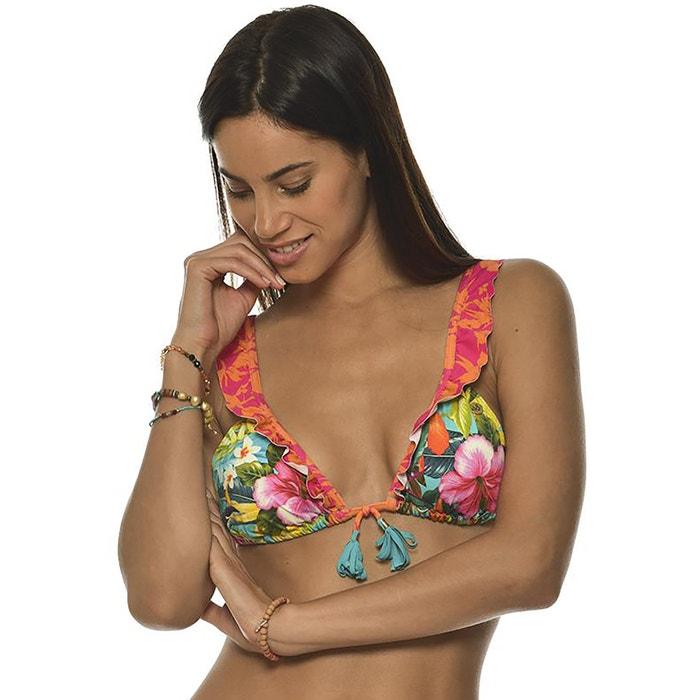 de de estampado BANANA con flores de Sujetador 225;ngulos forma tri MOON bikini y EwUpOq