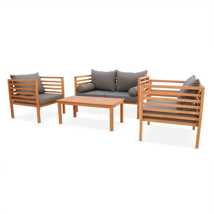 Salon de jardin cordoba en bois coussin gris anthracite for Assise salon de jardin