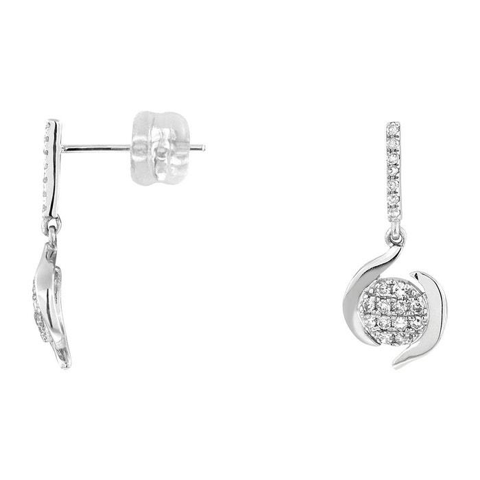 Boucles d'oreilles en or 375/1000 blanc et diamant blanc blanc Cleor | La Redoute Faux Prix Pas Cher l117lT