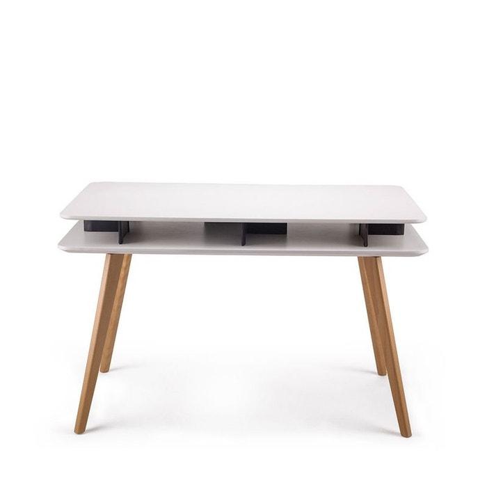 bureau design bois geeko blanc drawer la redoute. Black Bedroom Furniture Sets. Home Design Ideas