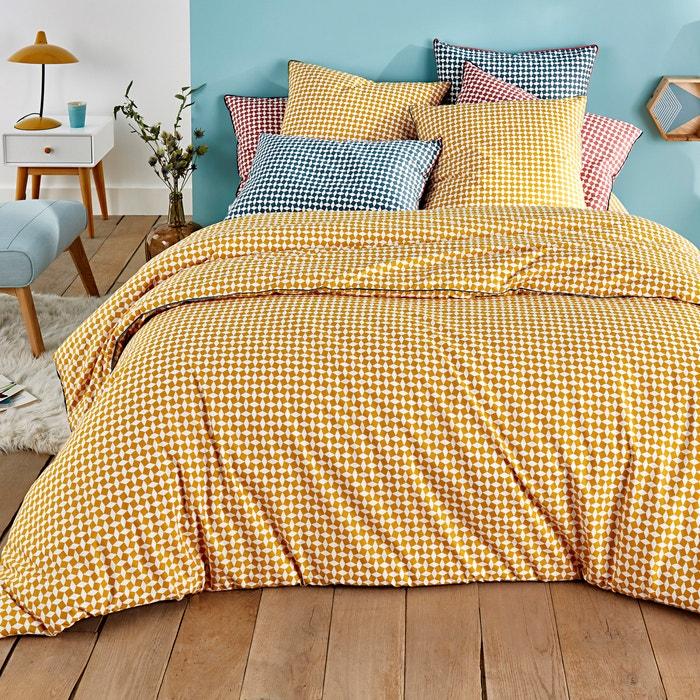 Yellow Tie Print Cotton Percale Duvet Cover  La Redoute Interieurs image 0