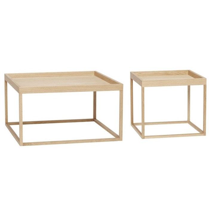 Set De 2 Tables Basses Carrées Style Minimaliste Scandinave Bois