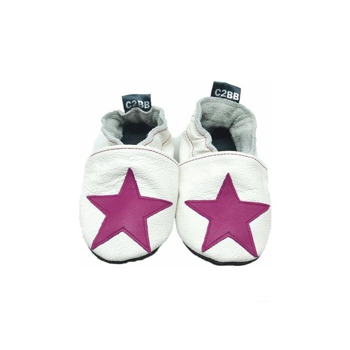 6304ace75b6a5 Chaussons cuir souple star dark pink blanc C2bb