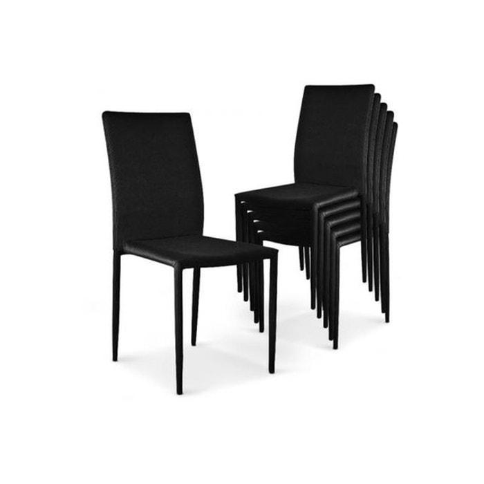 lot de 6 chaises empilables noires en tissu suva noir declikdeco la redoute. Black Bedroom Furniture Sets. Home Design Ideas