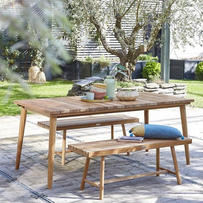 Salon de jardin en bois de teck 6 à 8 places teck brut Bois Dessus ...