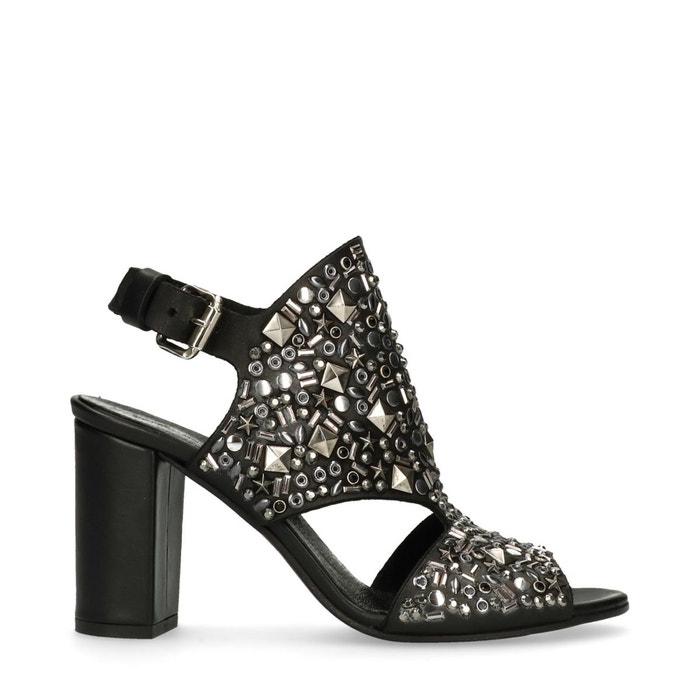 Sandales à talon avec clous noir Sacha Vue Prise GGC0SnQ