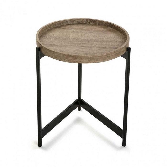 Table basse d 39 appoint ronde plateau noir versa hennan - Table ronde la redoute ...