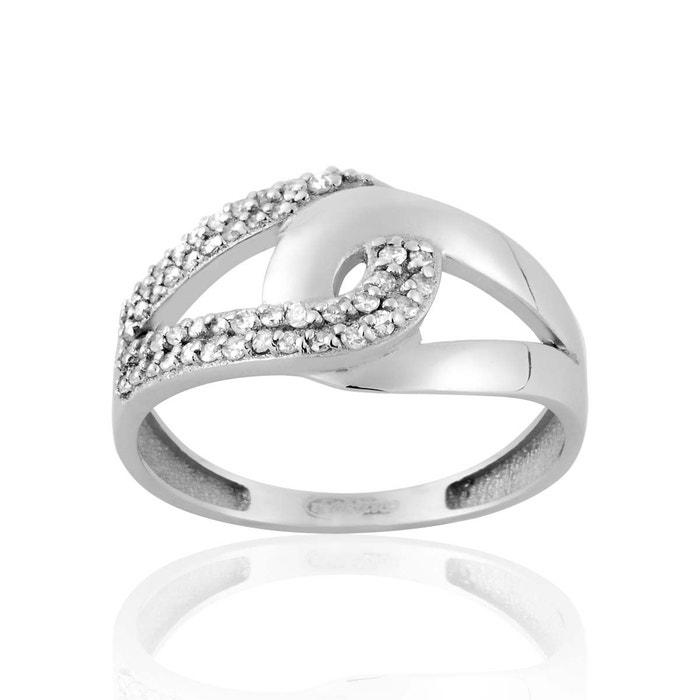 Bague en or 750/1000 blanc et diamant blanc blanc Cleor   La Redoute Très Pas Cher En Ligne Grosses Soldes tqOeQ