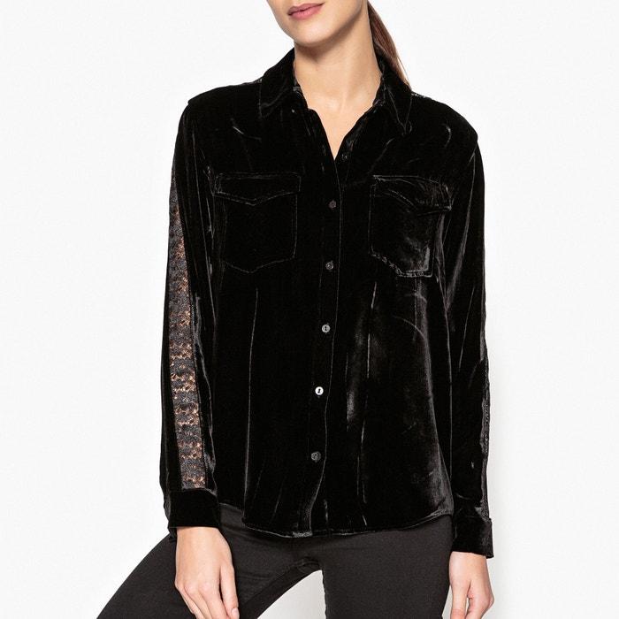 chemise velours avec dentelle the kooples noir la redoute. Black Bedroom Furniture Sets. Home Design Ideas
