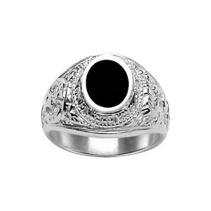 Chevalière bague anneau indien amérique usa ovale onyx noir argent 925 couleur unique So Chic Bijoux | La Redoute Négligez Dernières Collections GtzPxLmR8