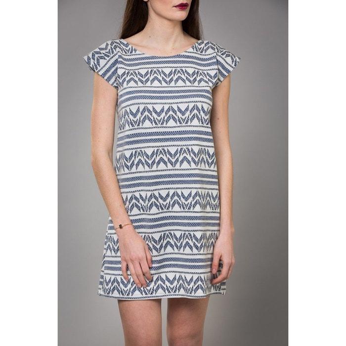56f84f5b7 Robe courte évasée motifs Fil textile graphique maille jacquard Nuna