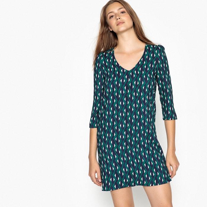 60eed19a7 Vestido corto con cuello de pico y estampado geomé estampado verde Suncoo