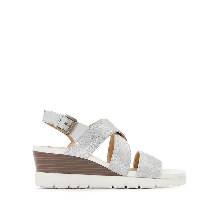 Sandales cuir compensées d marykarmen p.b  blanc Geox  La Redoute