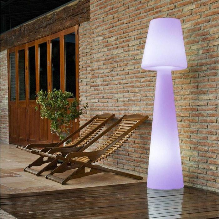 lola lampe de sol d 39 ext rieur rgb rechargeable blanc h110cm blanc newgarden la redoute. Black Bedroom Furniture Sets. Home Design Ideas