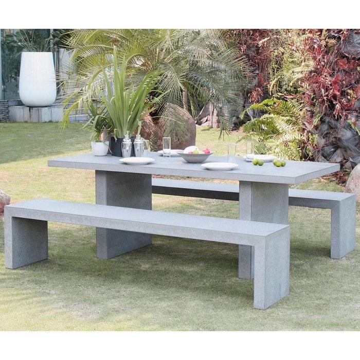 Salon de jardin table d\'extérieur rectangle en ciment effet béton 200x90cm  + 2 bancs 200cm HERCULE 8 personnes