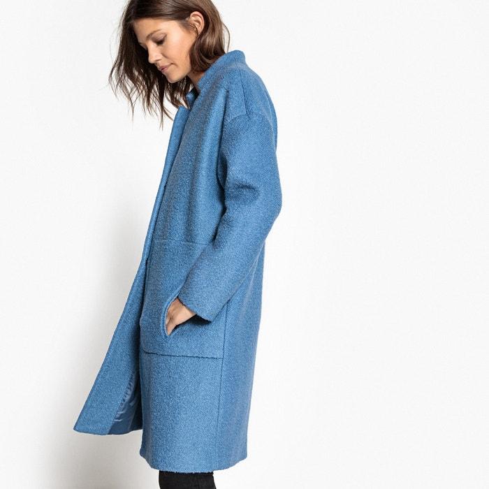 manteau oversize 40 laine bouillie bleu moyen la redoute. Black Bedroom Furniture Sets. Home Design Ideas