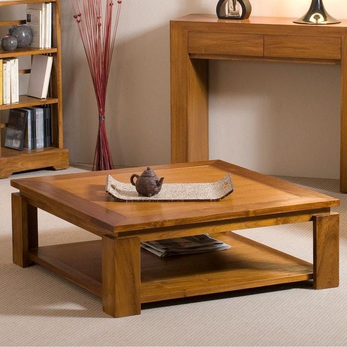 Table Basse Exotique Carree 90cm Double Plateau Bois Teck Verni