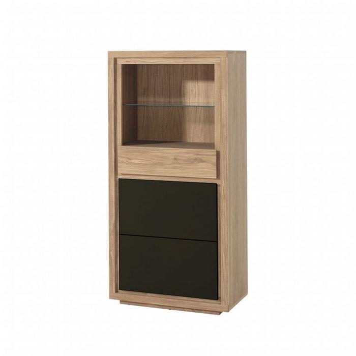 bibliothèque / buffet bois bicolore naturel / laqué noir en chêne