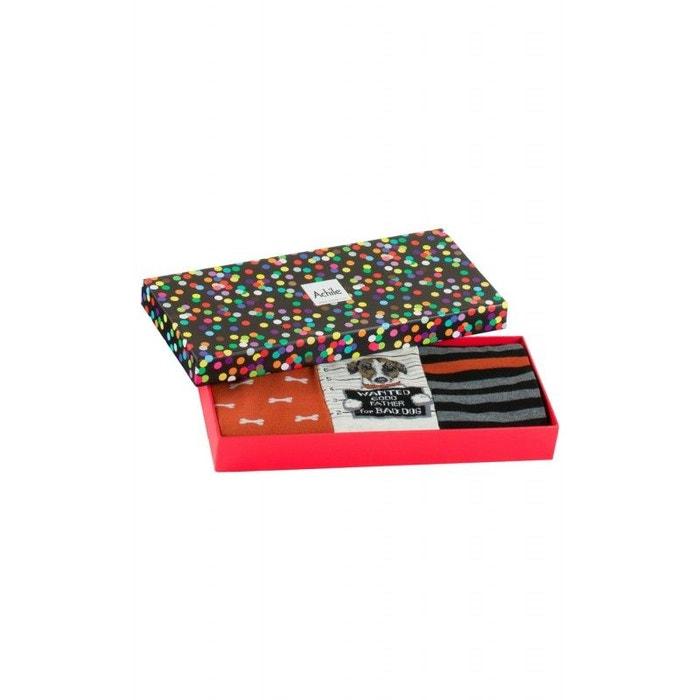 110585675fe Coffret cadeau 3 paires chaussettes wanted noir orange Achile