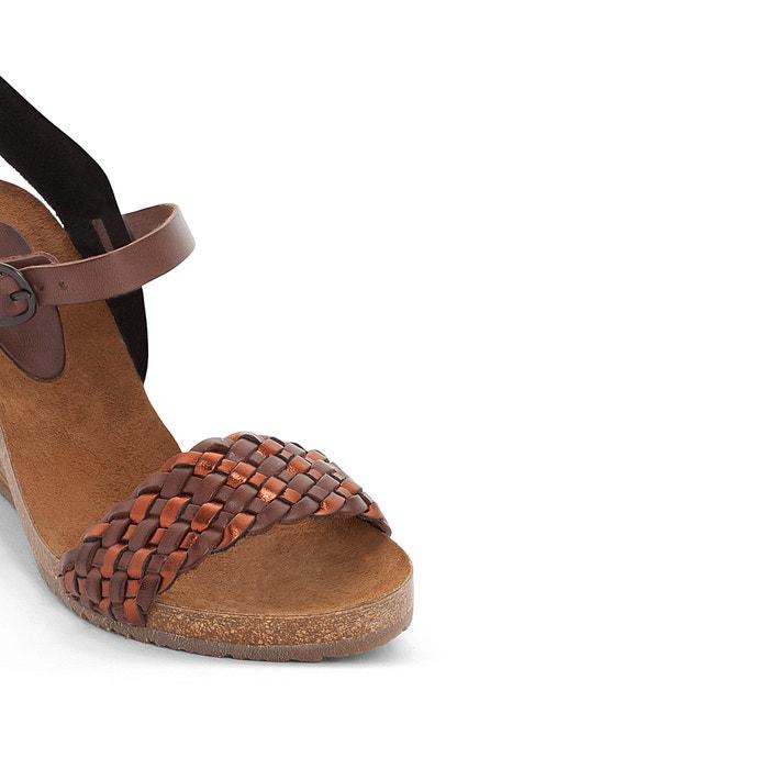 Sandales cuir compensées Splendid, Noir, Gris