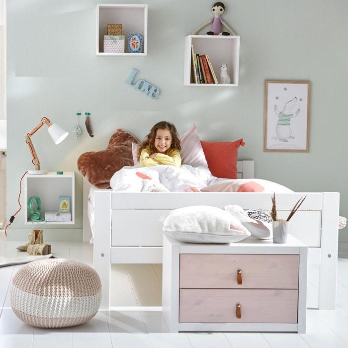 lit ado 120x200 avec sommier rose timoth e blanc alfred et compagnie la redoute. Black Bedroom Furniture Sets. Home Design Ideas
